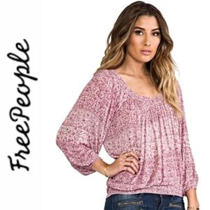 NWT Free People Moss Printed Peasant Top Sz *Small